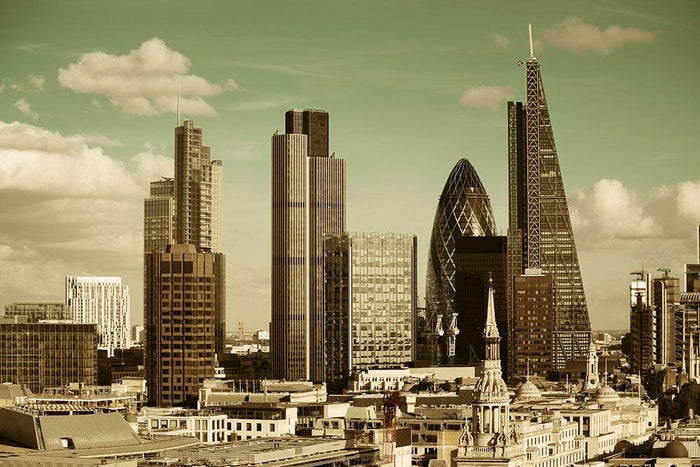 London city rooftop view with urban architectures Wall Mural Wallpaper