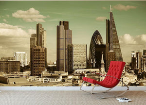 London city rooftop view with urban architectures Wall Mural Wallpaper - Canvas Art Rocks - 2
