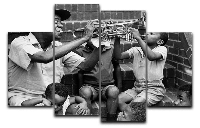 Louis Armstrong with kids 4 Split Panel Canvas