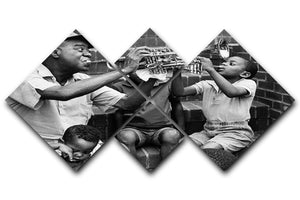 Louis Armstrong with kids 4 Square Multi Panel Canvas - Canvas Art Rocks - 1