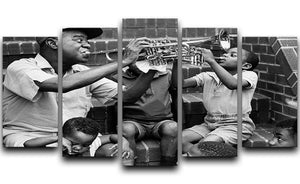 Louis Armstrong with kids 5 Split Panel Canvas - Canvas Art Rocks - 1