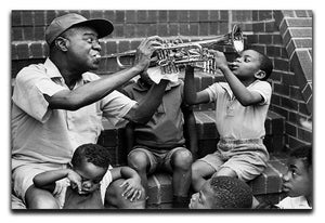 Louis Armstrong with kids Canvas Print or Poster - Canvas Art Rocks - 1
