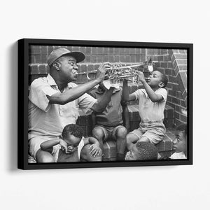 Louis Armstrong with kids Floating Framed Canvas