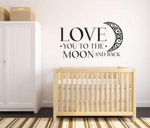 Love You To The Moon Wall Decal - Canvas Art Rocks - 1