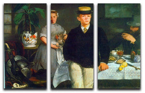 Luncheon by Manet 3 Split Panel Canvas Print - Canvas Art Rocks - 1