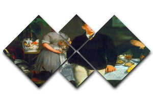 Luncheon by Manet 4 Square Multi Panel Canvas  - Canvas Art Rocks - 1