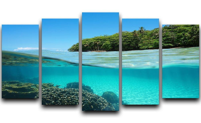 Lush tropical shore above waterline 5 Split Panel Canvas