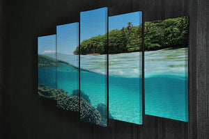 Lush tropical shore above waterline 5 Split Panel Canvas  - Canvas Art Rocks - 2
