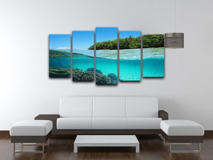 Lush tropical shore above waterline 5 Split Panel Canvas  - Canvas Art Rocks - 3