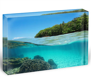 Lush tropical shore above waterline Acrylic Block - Canvas Art Rocks - 1