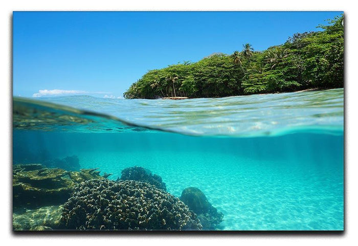 Lush tropical shore above waterline Canvas Print or Poster