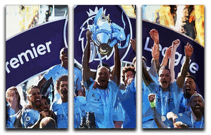 MANCHESTER CITY PREMIER LEAGUE WINNERS 2019 3 Split Panel Canvas Print - Canvas Art Rocks - 1