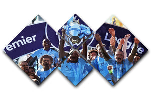 MANCHESTER CITY PREMIER LEAGUE WINNERS 2019 4 Square Multi Panel Canvas - Canvas Art Rocks - 1