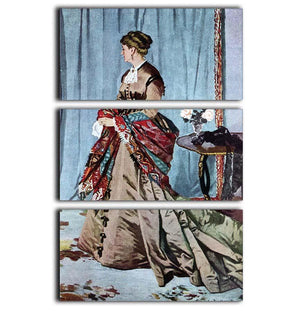 Madame Gaudibert by Monet 3 Split Panel Canvas Print - Canvas Art Rocks - 1