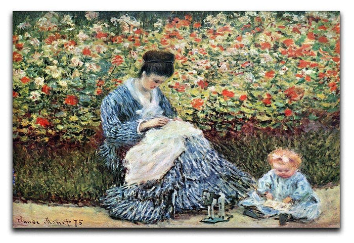 Madame Monet and child by Monet Canvas Print or Poster