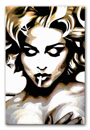 Madonna Naked With Cigarette Print - Canvas Art Rocks - 1