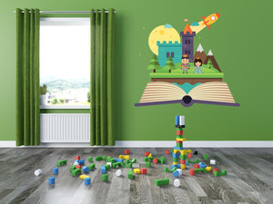 Magical Castle Book Wall Decal - Canvas Art Rocks - 1