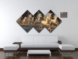 Magical Unicorn Forest 4 Square Multi Panel Canvas  - Canvas Art Rocks - 3