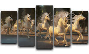 Magical Unicorn Forest 5 Split Panel Canvas  - Canvas Art Rocks - 1