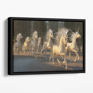 Magical Unicorn Forest Floating Framed Canvas