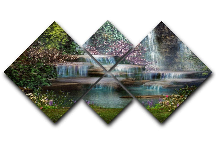 Magical landscape with waterfalls 4 Square Multi Panel Canvas