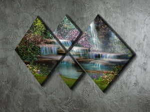 Magical landscape with waterfalls 4 Square Multi Panel Canvas  - Canvas Art Rocks - 2