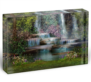 Magical landscape with waterfalls Acrylic Block - Canvas Art Rocks - 1
