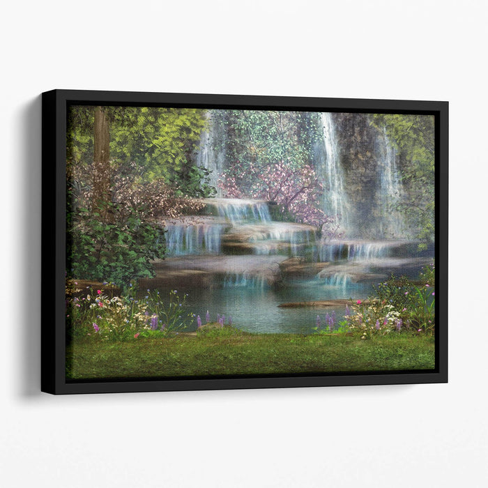 Magical landscape with waterfalls Floating Framed Canvas
