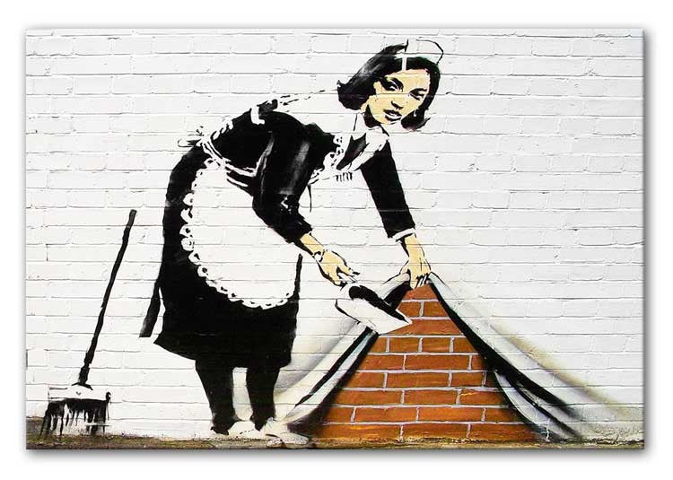 Banksy Maid Sweeping Under the Carpet Print - Canvas Art Rocks - 1