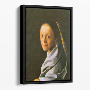 Maid by Vermeer Floating Framed Canvas
