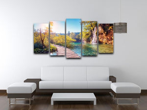 Majestic view on turquoise water 5 Split Panel Canvas  - Canvas Art Rocks - 3