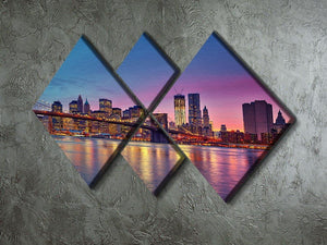 Manhattan at dusk 4 Square Multi Panel Canvas  - Canvas Art Rocks - 2