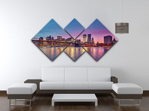 Manhattan at dusk 4 Square Multi Panel Canvas  - Canvas Art Rocks - 3