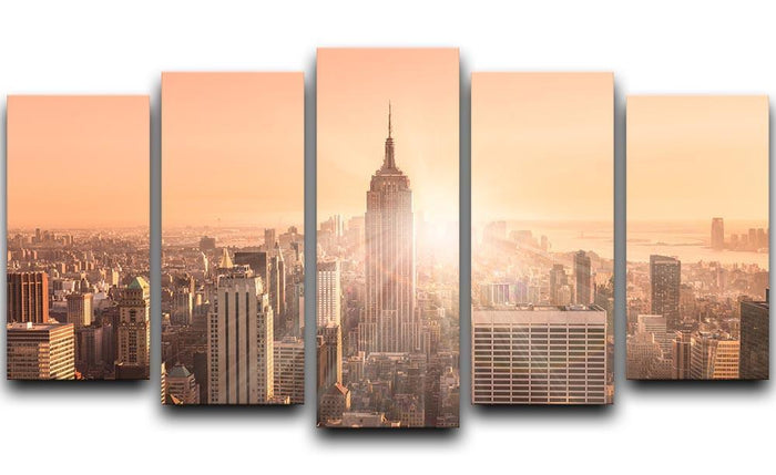 Manhattan downtown skyline with illuminated Empire State Building 5 Split Panel Canvas