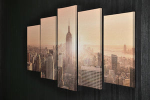 Manhattan downtown skyline with illuminated Empire State Building 5 Split Panel Canvas  - Canvas Art Rocks - 2
