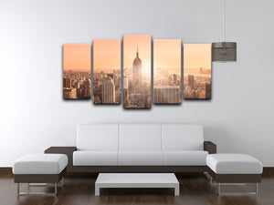 Manhattan downtown skyline with illuminated Empire State Building 5 Split Panel Canvas  - Canvas Art Rocks - 3