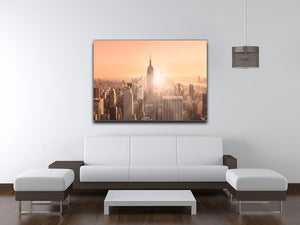 Manhattan downtown skyline with illuminated Empire State Building Canvas Print or Poster - Canvas Art Rocks - 4