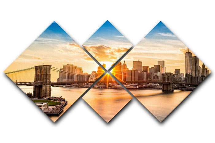 Manhattan skyline at sunset 4 Square Multi Panel Canvas