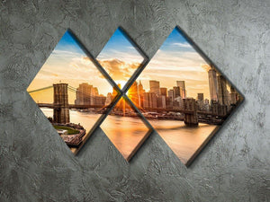 Manhattan skyline at sunset 4 Square Multi Panel Canvas  - Canvas Art Rocks - 2