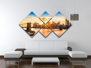Manhattan skyline at sunset 4 Square Multi Panel Canvas  - Canvas Art Rocks - 3