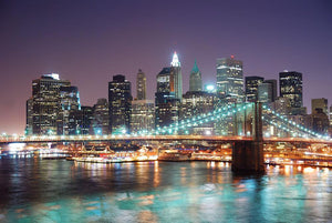 Manhattan skyline with skyscrapers over Hudson River Wall Mural Wallpaper - Canvas Art Rocks - 1