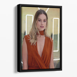 Margot Robbie Once Upon A Time In Hollywood Premiere London Floating Framed Canvas - Canvas Art Rocks - 1