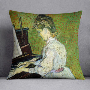 Marguerite Gachet at the Piano by Van Gogh Throw Pillow