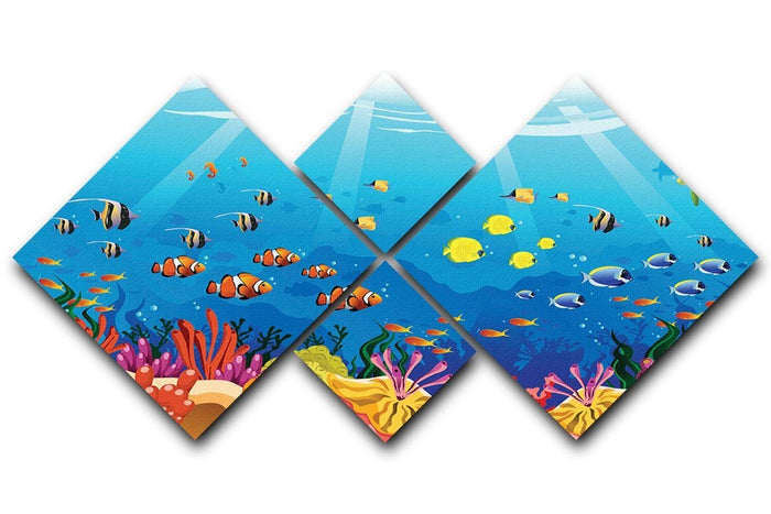 Marine underwater scene 4 Square Multi Panel Canvas