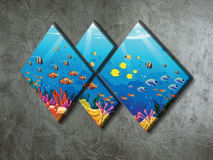 Marine underwater scene 4 Square Multi Panel Canvas  - Canvas Art Rocks - 2