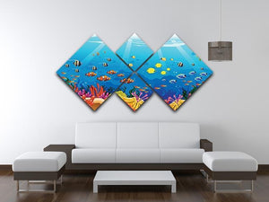 Marine underwater scene 4 Square Multi Panel Canvas  - Canvas Art Rocks - 3