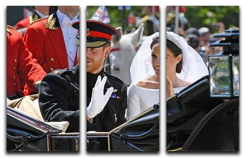Meghan and Prince Harry greet the crowds 3 Split Panel Canvas Print - Canvas Art Rocks - 1