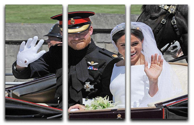 Meghan and Prince Harry wave to the crowds 3 Split Panel Canvas Print - Canvas Art Rocks - 1