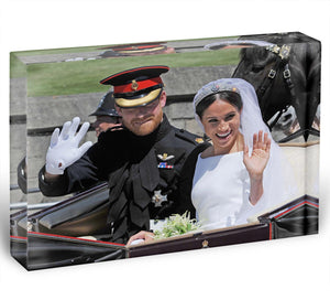 Meghan and Prince Harry wave to the crowds Acrylic Block - Canvas Art Rocks - 1