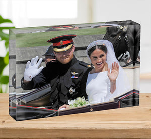 Meghan and Prince Harry wave to the crowds Acrylic Block - Canvas Art Rocks - 2